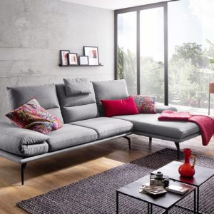 KAWOLA Sofa KIMI 3-Sitzer Ecksofa Stoff Recamiere rechts grau