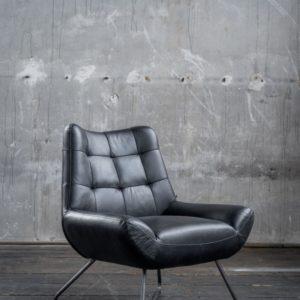 KAWOLA Sessel Snooze Leder schwarz B/H/T: 82x93x76cm