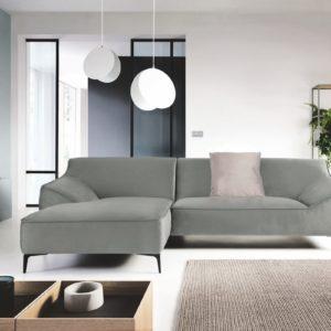 KAWOLA Ecksofa TUNIA Sofa Recamiere links Stoff Velvet grau