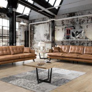KAWOLA Sofa-Set 4-Sitzer Couch und 3-Sitzer Couch HILLY Kunstleder braun
