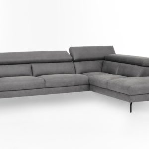 KAWOLA Ecksofa CALINA Sofa Recamiere rechts Microfaser grau