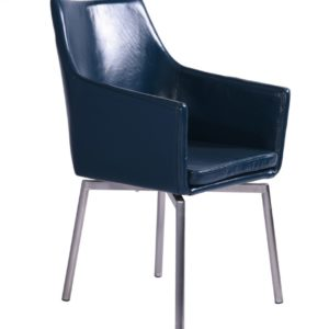 Stuhl Cali Sessel Leder Esszimmerstuhl blau Füße Edelstahl