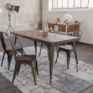 KAWOLA Essgruppe Tisch KELIO 180x90cm mit 4x Stuhl GERO Holz/Metall