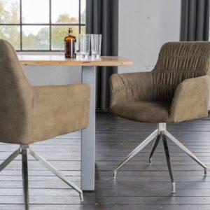 KAWOLA Stuhl NIXIE mit Drehfunktion Stoff graugrün