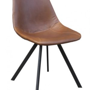 4x Stuhl Mendra Esszimmerstuhl Kunstleder braun