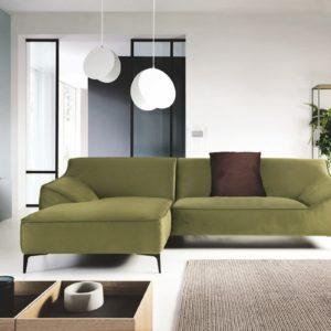 KAWOLA Ecksofa TUNIA Sofa Recamiere links Stoff Velvet grün