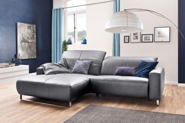 KAWOLA Sofa YORK Leder Life-line light-grey Rec links Fuß Metall Chrom matt