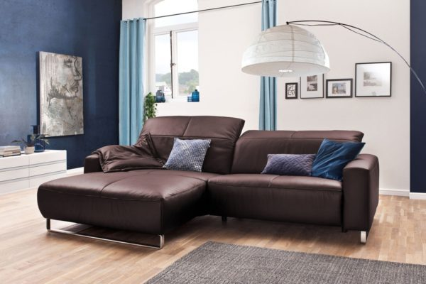 KAWOLA Sofa YORK Leder Life-line bordeaux Récamiere links Fuß Metall Chrom matt