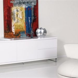 Tenzo Frost Sideboard 2 Türen / 2 Schubladen Hochglanz weiß