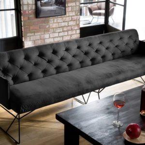 KAWOLA Esszimmerbank CHARME 206cm Stoff Velvet black