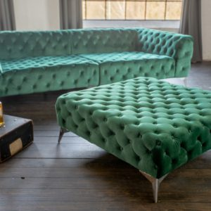 KAWOLA Hocker NARLA Velvet grün 110x110cm