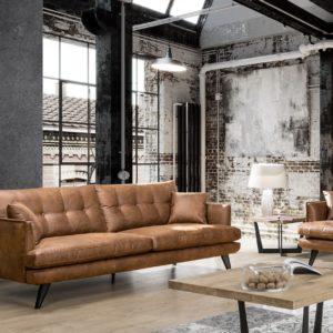 KAWOLA 3-Sitzer Sofa HILLY Kunstleder braun