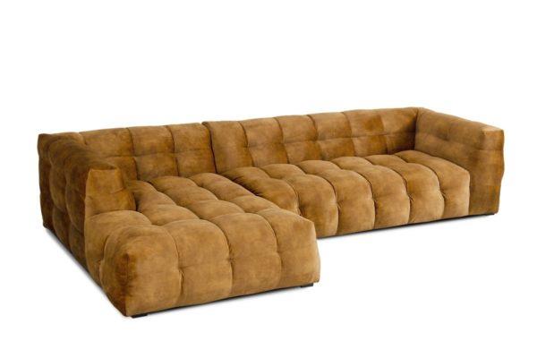 KAWOLA Sofa ROSARIO 3-Sitzer Stoff goldfarben Recamiere links