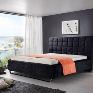 KAWOLA Polsterbett TYNO 180x210cm Überlänge schwarz