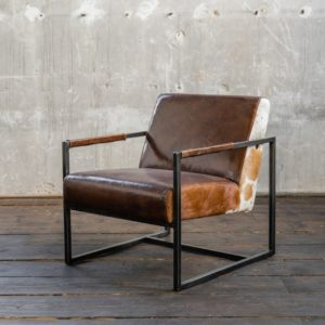 KAWOLA Sessel LIANO Vintage-Leder dunkelbraun
