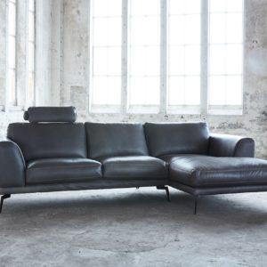 KAWOLA Ecksofa DESIDE Sofa Recamiere rechts inkl. Kopfstütze Leder schwarz
