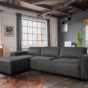 KAWOLA Ecksofa EXTRA Sofa Leder grau Recamiere links klein mit motorischer Sitztiefenverstellung