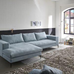 KAWOLA Ecksofa RORA Couch Recamiere links Stoff silbergrau