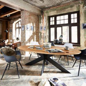 KAWOLA Esstisch DEVERA Tisch rund Eiche massiv 260x115cm