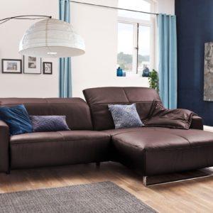KAWOLA Sofa YORK Leder Life-line bordeaux Recamiere rechts Fuß Metall Chrom matt