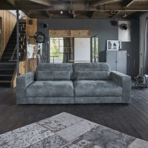 Sofa Ledersofa GIGANT 3,5 Sitzer inkl. Hocker und 2 Kissen Leder anthrazit