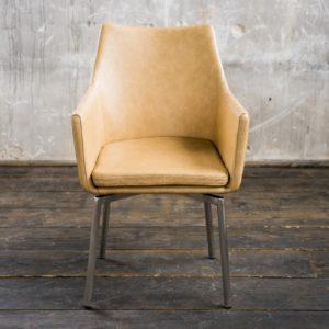 Stuhl Cali Sessel Leder Esszimmerstuhl beige Füße Edelstahl