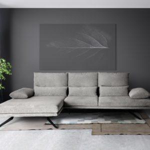 KAWOLA Sofa FENICE Ecksofa Stoff Recamiere links light grey