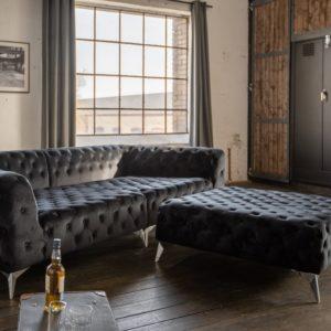 Möbel online, KAWOLA Set Big Sofa und Polsterhocker NARLA Velvet schwarz