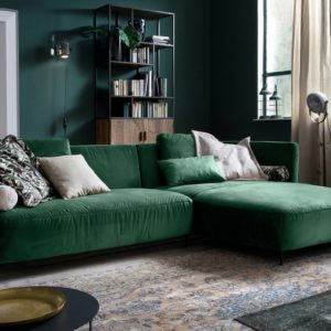 KAWOLA Sofa LUNERA Stoff Recamiere rechts Velvet smaragd