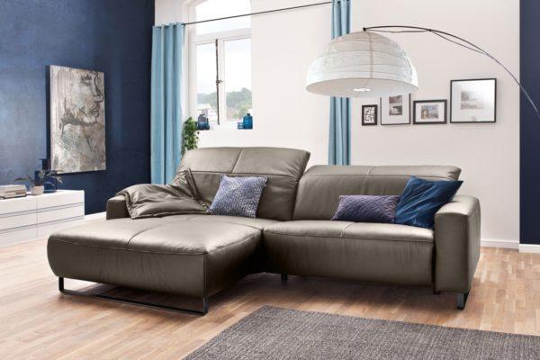 KAWOLA Sofa YORK Leder Life-line bisquit Rec links Fuß Metall schwarz mit Sitztiefenverstellung
