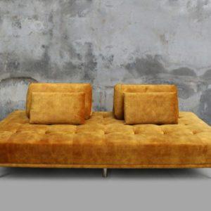 KAWOLA Sofa WIOLO Schlafsofa velvet gold