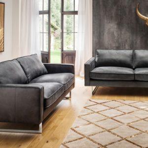 KAWOLA Sofa-Garnitur ALINE 2 teilig 3,5-Sitzer und 2,5-Sitzer Leder graphit