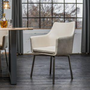 Stuhl Cali Sessel Microfaser Esszimmerstuhl creme Füße Edelstahl