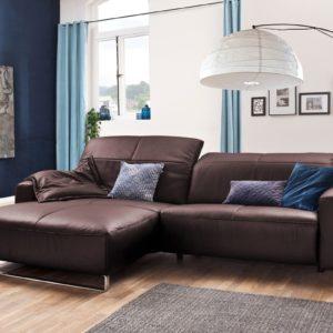 KAWOLA Sofa YORK Leder Life-line bordeaux Rec links Fuß Metall Chrom matt mit Sitztiefenverstellung
