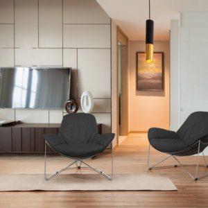 KAWOLA Sessel OSCA Loungesessel Relax-Sessel Stoff schwarz (B/H/T) 80x72x90cm