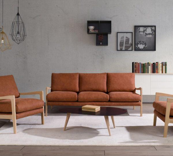 KAWOLA Sofa RODRIGUEZ 3-Sitzer Leder orange