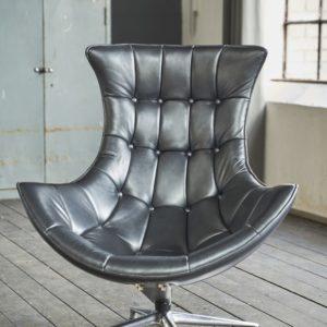 KAWOLA Drehsessel SKIO Sessel Leder silbergrau-metallic (B/H/T) 84x90x96cm