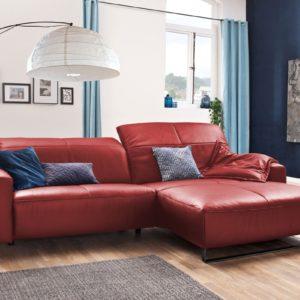 KAWOLA Sofa YORK Leder Life-line rot Rec rechts Fuß Metall schwarz mit Sitztiefenverstellung