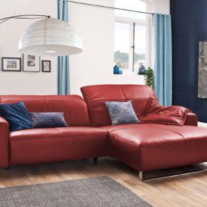 KAWOLA Sofa YORK Leder Life-line rot Recamiere rechts Fuß Metall Chrom matt