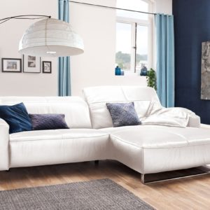 KAWOLA Sofa YORK Leder Life-line bianco Recamiere rechts Fuß Metall schwarz