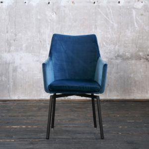 KAWOLA Stuhl CALI Esszimmerstuhl velvet petrol Füße schwarz-matt
