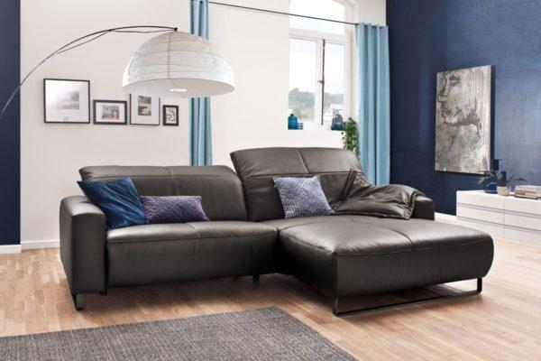 KAWOLA Sofa YORK Leder Life-line asphalt Rec rechts Fuß Metall schwarz mit Sitztiefenverstellung