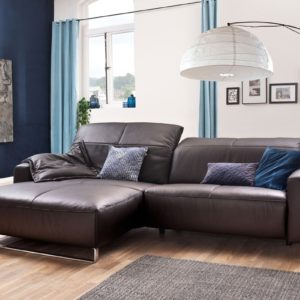 KAWOLA Sofa YORK Leder Life-line chocolate Rec links Fuß Metall Chrom matt mit Sitztiefenverstellung