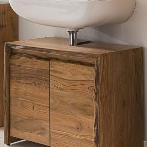 KAWOLA Badezimmer Waschbecken-Unterschrank Loft Edge Akazie Massiv-Holz Baumkante B/H/T: 70x60x40cm