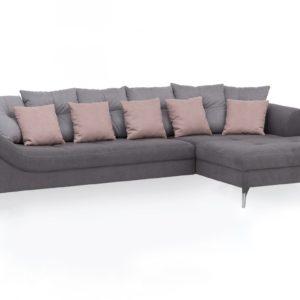 KAWOLA Ecksofa TENIO Sofa Recamiere rechts Stoff grau/rosa