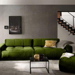 KAWOLA Sofa PALACE Stoff velvet green