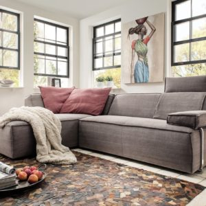 KAWOLA Sofa RENIE Ecksofa Stoff braun Polsterecke Recamiere links B/H/T 277x77x190cm