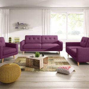 KAWOLA Sitzgruppe ALEXO 3-Sitzer 2-Sitzer Sofa Sessel Stoff rosa