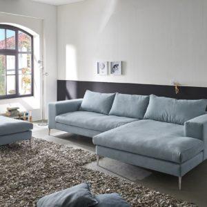 KAWOLA Ecksofa RORA Couch Recamiere rechts inkl. Hocker Stoff silbergrau