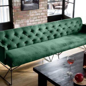KAWOLA Esszimmerbank CHARME Stoff Velvet smaragd 166cm